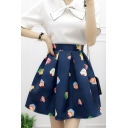 Summer's Lovely Cake Printed High Rise Mini A-Line Flared Skirt