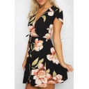 Summer's Plunge Neck Cap Sleeve Retro Floral Printed Mini Wrap Dress