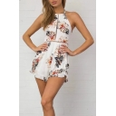 Halter Neck Open Back Sleeveless Floral Printed Beach Casual Rompers