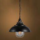 Industrial Style Pendant Light with Matte Black Bowl Shade, 15.7''/12.2