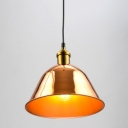 Industrial Pendant Light Metal Dome Shade in Gold
