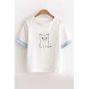 Cute Cartoon Cat Pattern Round Neck Short Sleeve Pullover T-Shirt