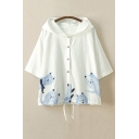 Lovely Cartoon Cat Pattern Hooded Single Breasted Summer's Sun Coat