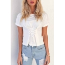 New Arrival Hot Fashion Plain Lace-Up Fronted Round Neck Short Sleeve T-Shirt