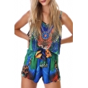 New Arrival Floral Printed Spaghetti Straps Sleeveless Beach Loose Rompers