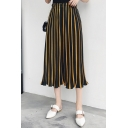 Hot Fashion Striped Printed Elastic Waist Capri Wide Legs Chiffon Pants