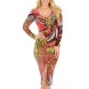 Hot Fashion V Neck Long Sleeve Open Back Slit Front Midi Bodycon Dress