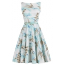 Vintage Round Neck Sleeveless Printed High Waist Midi A-Line Flared Dress