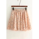 High Rise Elastic Waist Floral Printed Mini A-Line Pleated Skirt