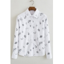 Unisex Cartoon Printed Lapel Long Sleeve Single Breasted Shirt