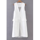 New Arrival Simple Plain Sleeveless Chiffon Patchwork Back Tunic Vest