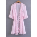 Chic Lace Hem Open Front 3/4 Sleeve Plain Tunic Chiffon Kimono Top