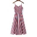 Colorful Striped Printed Spaghetti Straps Sleeveless Midi A-Line Slip Dress