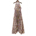 Women's Halter Sleeveless Floral Printed Hollow Out Maxi A-Line Dress