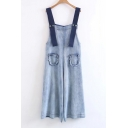New Arrival Straps Wide Legs Plain Loose Casual Denim Overalls with Pockets