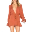 Sexy Plunge Neck Long Sleeve Flared Cuff Lace Trim Plain Rompers
