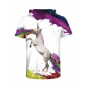 Cartoon Unicorn Color Block 3D Printed Short Sleeve Hooded Tee