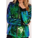 New Arrival Fashion Sequined Design Long Sleeve Zip Placket Baseball Jacket