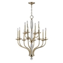 Candle Style Chandelier in Chrome/Gold Finish, 12 Lights