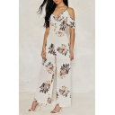 Spaghetti Straps Cold Shoulder Short Sleeve Floral Printed Wide Legs Jumpsuits