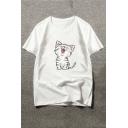 Summer's Cartoon Cat Printed Round Neck Short Sleeve Pullover T-Shirt