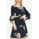 Fashion Floral Printed Round Neck Flared Sleeve Midi A-Line Dress