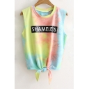 New Fashion Ombre Letter Pattern Round Neck Sleeveless Knotted Hem Tank Tee
