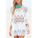 New Arrival Crochet Cut Out Boat Neck 3/4 Sleeve Plain Cover Up Swimwear