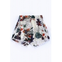Hot Fashion Elastic Waist Floral Pattern Tassel Trim Loose Beach Shorts
