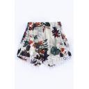 Hot Fashion Elastic Waist Floral Pattern Tassel Trim Loose Beach Shorts