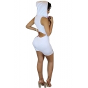 New Arrival Hooded Sleeveless Cutout Back Scoop Neck Rompers