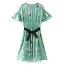 Floral Cranes Printed Round Neck Short Sleeve Midi A-Line Dress