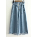 High Rise Elastic Waist Buttons Down Wide Legs Plain Loose Fringe Hem Jeans