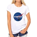 Unisex TARDIS Graphic Printed Short Sleeve Round Neck Casual Tee