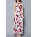 Elegant Floral Printed Spaghetti Straps Sleeveless Split Front Maxi Dress