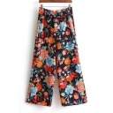 New Arrival Chic Floral Printed Casual Loose Wide Legs Pants with Tie Waist