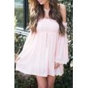 Summer's Hot Fashion Off The Shoulder Long Sleeve Plain Mini A-Line Dress