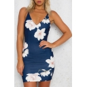 New Fashion Floral Printed Spaghetti Straps Sexy Bodycon Mini Slip Dress