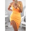 Women's Sexy Spaghetti Straps Sleeveless Asymmetric Hem Plain Wrap Cami Dress