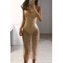 Hot Fashion Spaghetti Straps Sequined Sheer Bodysuit Midi Slip Dress