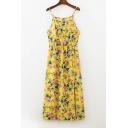 Summer's Floral Printed Spaghetti Straps Split Front Midi Slip Dress