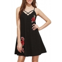 Chic Floral Embroidered Spaghetti Straps Sleeveless Mini Slip Dress