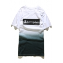 New Arrival Tie-Dyed Color Block Champion Printed Short Sleeve Round Neck Tee