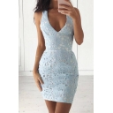 Sexy Plunge Neck Sleeveless Chic Lace Inserted Mini Bodycon Dress