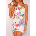 Chic Floral Printed Sleeveless Cut Out Waist Mini Bodycon Slip Dress