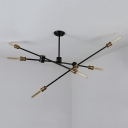 Industrial Semi-Flush Mount Ceiling Light in Black Finish with 6 Edison Bulbs, Light Branch Adjustable