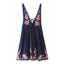 Floral Embroidered Plunge Neck Sleeveless Mini A-Line Tank Dress
