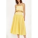 Classic Plaids Pattern Bandeau Cropped Top Chic A-Line Maxi Skirt Co-ords
