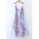 New Fashion Floral Printed Sleeveless Open Back Maxi Asymmetrical Slip Dress