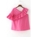 New Fashion Ruffle Hem V Neck Short Sleeve Plain Casual Pullover Blouse